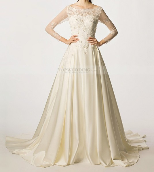 Scoop-Neckline-Sheer-Long-Sleeved-Satin-Wedding-Gown-with-Flower-Decor12546